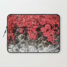 Pink red ivy leaves autumn stone wall Laptop Sleeve