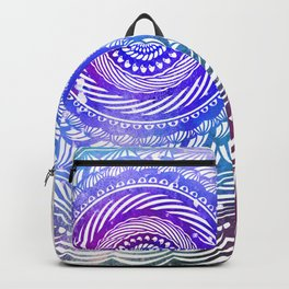 Modern Mandala Spiral Galaxy Space Textured Multi Colored / Purple Pink Orange Gray Black Backpack