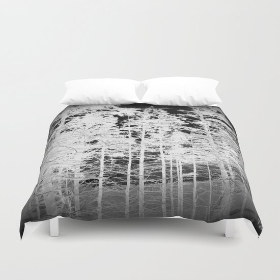 White Trees Vignette Duvet Cover