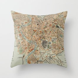 Vintage Map of Rome Italy (1911) Throw Pillow