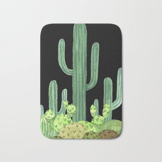Night Desert Prickly Cactus Bunch Bath Mat