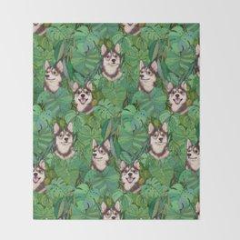 Pomsky Garden Throw Blanket