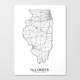 Illinois White Map Canvas Print