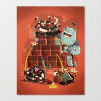 vikings Canvas Prints featuring :::Drunk Vikings::: by Ilias Sounas
