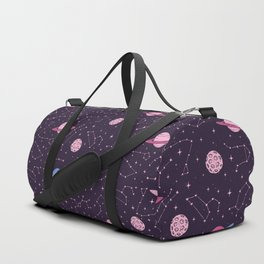 Pink Constellations and Planets Pattern Duffle Bag