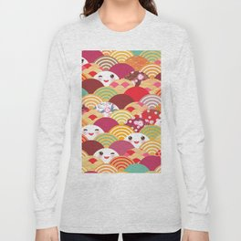 Kawaii Nature background with japanese sakura flower, wave pattern Long Sleeve T-shirt