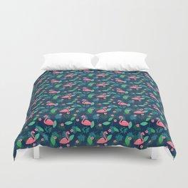 Flamingos & Plumeria Duvet Cover
