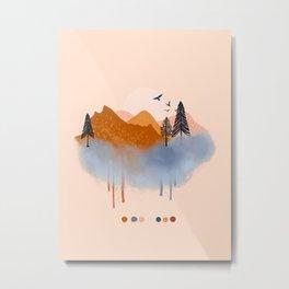 Mountain Landscape Abtraction Metal Print