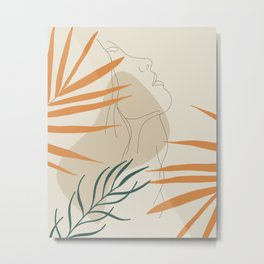 Minimal Line Art Woman And Palm Leaves #Society6 #Buyart Metal Print