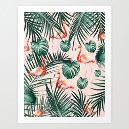 Tropical Flamingo Pattern #2 #tropical #decor #art #society6 Art Print
