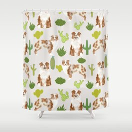 Australian Shepherd owners dog breed cute herding dogs aussie dogs animal pet portrait cactus Shower Curtain