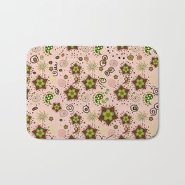 paisley pattern in rust and green Bath Mat