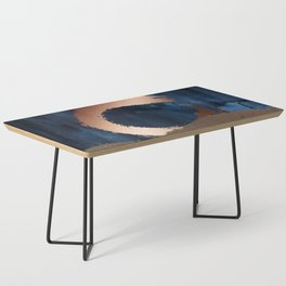 Navy Blue, Gold And Copper Abstract Art Coffee Table