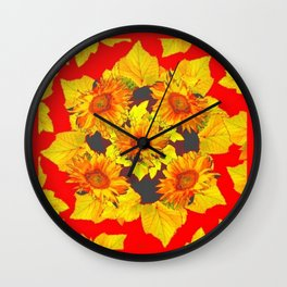 Red & Gold Leaves Sunflowers Pattern Art Wall Clock