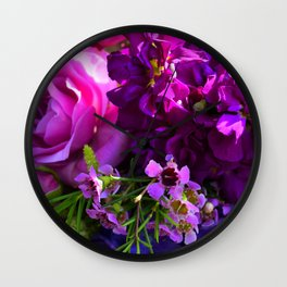 Purple Posies Wall Clock