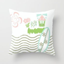 Surfing waves - petal beach Throw Pillow