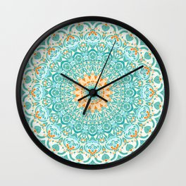 Orange and Turquoise Clarity Mandala Wall Clock