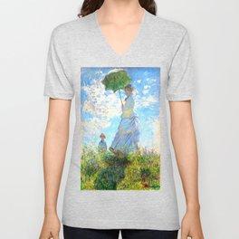 Monet : Woman with a Parasol Unisex V-Neck
