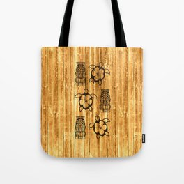 Blue Honu And Tiki Mask Tote Bag