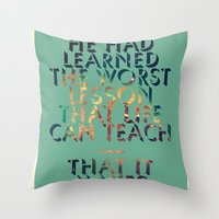 literary Throw Pillows featuring Literary Quote Poster — American Pastoral by Philip Roth by Evan Beltran