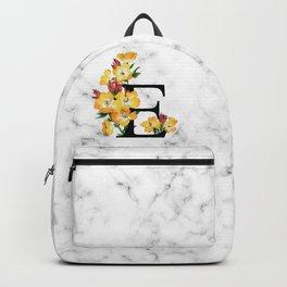 Letter 'E' Evening Primrose Flower Monogram Typography Backpack
