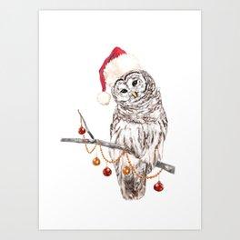 Christmas Owl GREETING Art Print