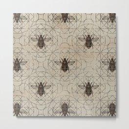 Bumble Bee  on sacred geometry pattern Metal Print