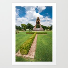Tulsa Praying Hands and Cross Landscape - Oral Roberts University Art Print