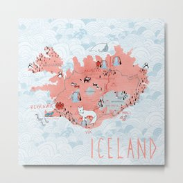 Illustrated Map of Iceland Metal Print