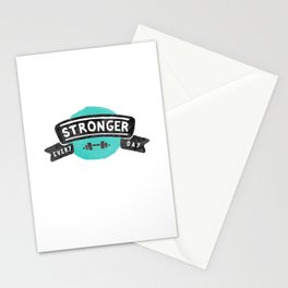 Stronger Every Day (dumbbell) Stationery Cards