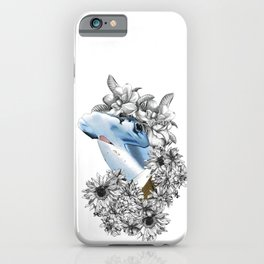 exclusive hammerhead shark in suit surrounded by garden flowers iPhone Case