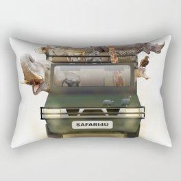 African Safari Animals in Jeep Rectangular Pillow