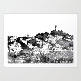 Telegraph Hill Print Black and Grey Art Print