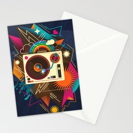 Goodtime Party Music Retro Rainbow Turntable Graphic Stationery Cards