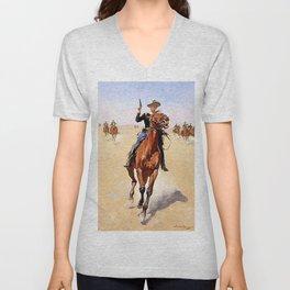 """The Trooper"" Western Art by Frederick Remington Unisex V-Neck"