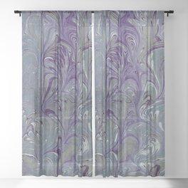 Purple, Blue, & Green Marbled Sheer Curtain