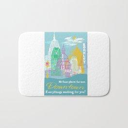 WPA Style Downtown (Detroit) Illustrated Print  Bath Mat