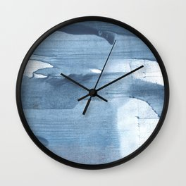 Gray Blue streaked wash drawing painting Wall Clock