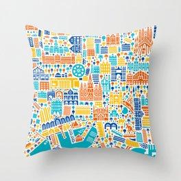 Vianina Barcelona City Map Poster Throw Pillow