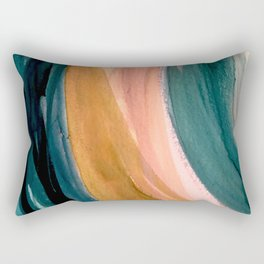 Breathe: a vibrant bold abstract piece in greens, ochre, and pink Rectangular Pillow