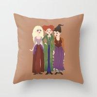 hocus pocus Throw Pillows featuring Hocus Pocus Illustration by Shop Sarah Alyson