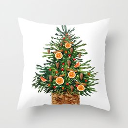 Watercolor Christmas Spruce Tree Throw Pillow