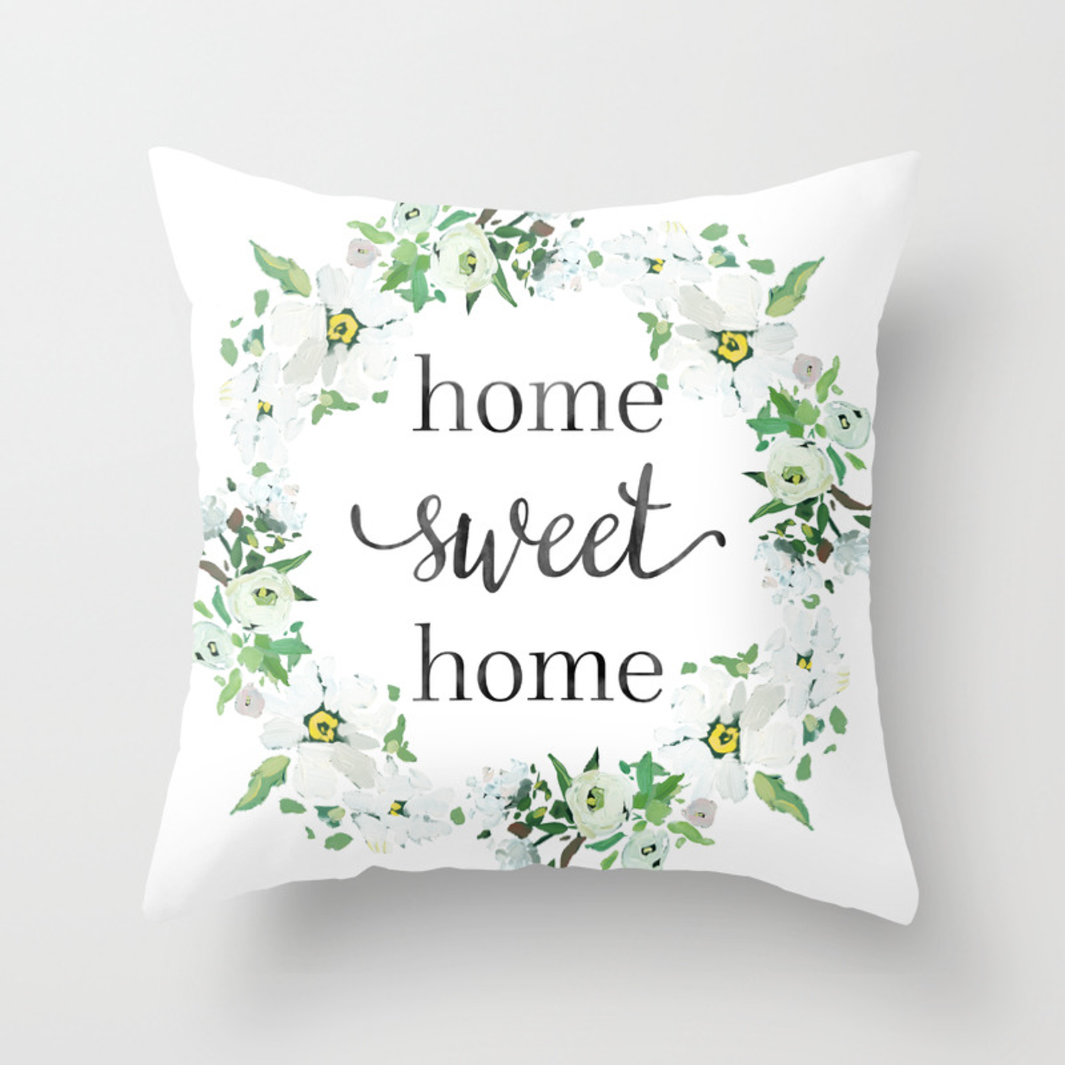 Home Sweet Home Floral Wreath Throw Pillow By Littlehousemarket Society6