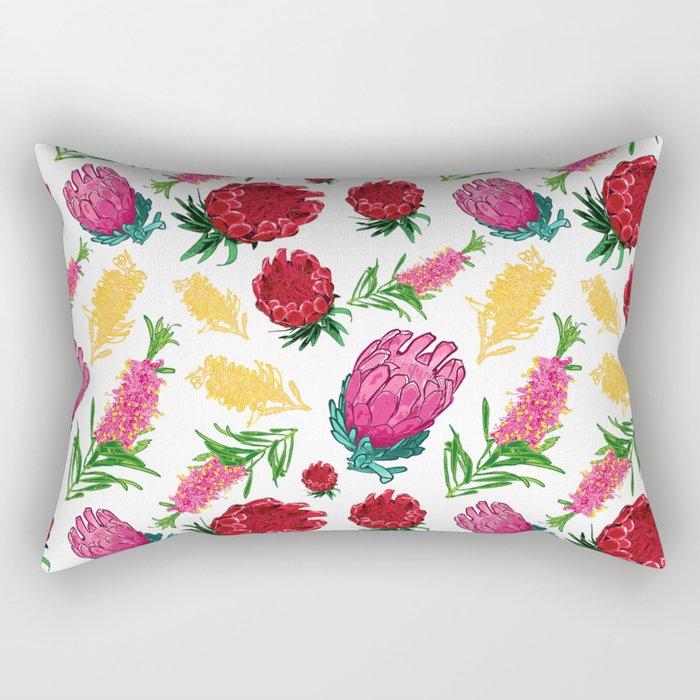 Beautiful Australian Native Floral Pattern Rectangular Pillow