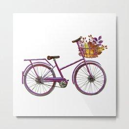Watercolor bicycle print Metal Print