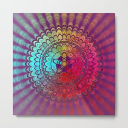 Mandala Flower Wheel Metal Print