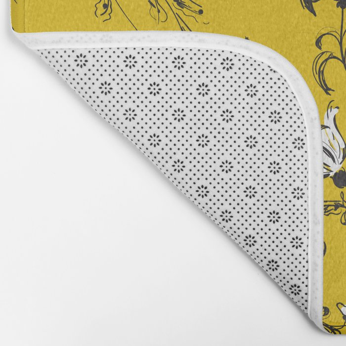 Yellow Floral Pattern Bath Mat