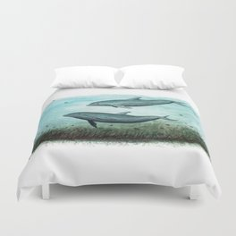 """""""Two Inshore Dolphins"""" by Amber Marine ~ Watercolor Painting, (Copyright 2015) Duvet Cover"""