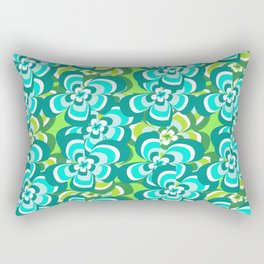 green and blue floral pattern Rectangular Pillow