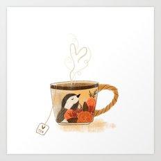 Chickadee Teacup Art Print